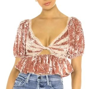 NWT - FREE PEOPLE Crushed Velvet Crop Top with Lace Trim in Mauve Size Medium